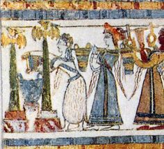 Cretan ceremony A priestess pours offerings at an altar with labrys pillars topped by doves.   Behind her a procession comes with more offerings.   The Hagia Triada sarcophagus is limestone painted in fresco.
