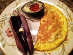 Ham Omelet, Sweet Potato With Grass Fed Butter, And Avocado With Salmon Roe: 1/2/14