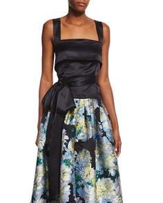 Adam Lippes Sleeveless Waist-Bow Top & High-Waist Floral-Print Ball Skirt