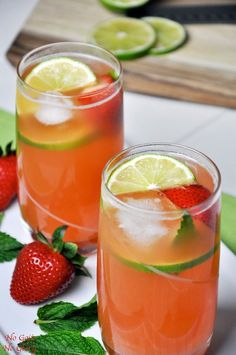 Pineapple-Strawberry Spritzer |   A refreshing and healthy alternative to soda on those hot summer days. Made with real fruit and no refined sugar | No Gojis No Glory
