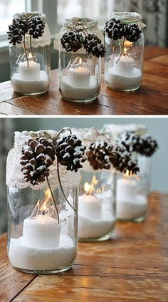 Christmas decorations tinker with pine cones - wonderful DIY ba .- Weihnachtsdeko basteln mit Tannenzapfen – Wundervolle DIY Bastelideen Christmas decorations with pine cones – DIY craft ideas – pine cones mason jar decoration - Christmas Mason Jars, Noel Christmas, Winter Christmas, Christmas Porch, Cheap Christmas, Christmas Candle, Christmas 2019, Christmas Table Deco, Christmas Budget