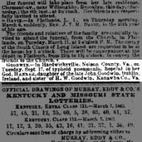 death of Hannah Goodwin of Nelson Va. d/o John Goodwin dec'd of Ireland and sister to H.W. Goodwin of Kanawha 1862