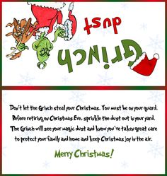 Grinch Dust Label Design | Postcard Monster Shop