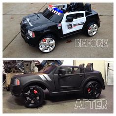 Overhauled my sons Powerwheels Dodge Charger police car into an all black beast! #gabrielsgraphics