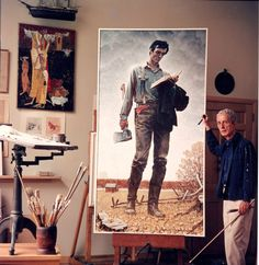 """Happy 204th Birthday to one of Norman Rockwell's favorite subjects: President Abraham Lincoln!     Image: Rockwell with """"Lincoln The Railsplitter"""" painting, 1965. Photo by Louie Lamone. Norman Rockwell Museum Digital Collections. ©Norman Rockwell Family Agency. All rights reserved."""