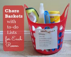 Chore baskets with to-do lists for each room. What a great way to make chores organized for the kids to help!