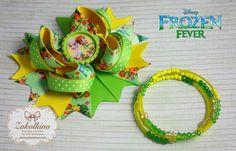 Set of 2  Frozen Hair bow  Green Yellow bracelet  by ZakolkinoCom