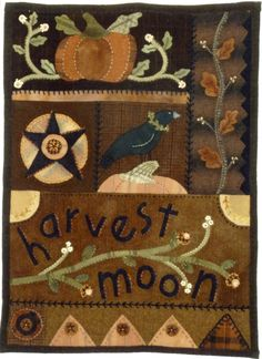 Harvest Moon By Campbell, Kathi  - 22in x 32in   Wool appliqued and yarn embroidered quilt wall hanging