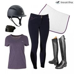 Stay comfortable and look stylish in today's #ROOTD, which features everyone's favorite Piper Breeches and a matching Piper T-Shirt. http://blog.smartpakequine.com/2016/09/rootd-pretty-in-purple/