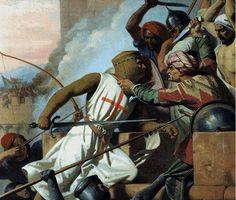 """Montgisard - """"Os cavaleiros francos surgiram ágeis como lobos, latindo como cães. Atacavam em massa, ardentes como chamas. As tropas muçulmanas foram espalhadas nas aldeias vizinhas que elas pilharam; também a sorte do combate voltou-se contra elas"""" (ABÛ SHÂMA)"""