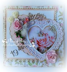 Plony's Blog vol met knutsels en frutsels....: Dag 5 Shabby Chic Cards, Vintage Shabby Chic, Anna Griffin Cards, Flower Cards, Floral Wreath, Creations, Joy, Frame, Flowers