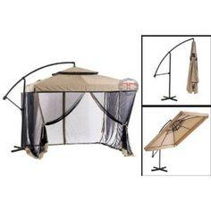 Superieur Vented Patio Umbrella | Tan Instant Gazebo Offset Patio Umbrella W Mesh Is  An Offset Umbrella