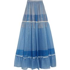 Stella McCartney Elsa tiered printed silk-blend chiffon maxi skirt (£950) ❤ liked on Polyvore featuring skirts, blue maxi skirt, multi color maxi skirt, long skirts, floor length skirt and tiered maxi skirt