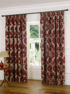 Hampton Court Ready Made Lined Curtains In Red | Terrys Fabrics UK
