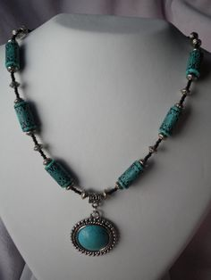Turquoise and Black Necklace by LilyJanesJewelryBox on Etsy, $12.00