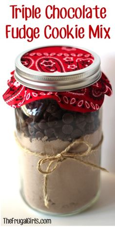 Triple Chocolate Fudge Cookie Mix in a Jar! ~ from TheFrugalGirls.com ~ the perfect gift for your favorite Choc-O-Holic... it makes AMAZING cookies!! #masonjars #cookies