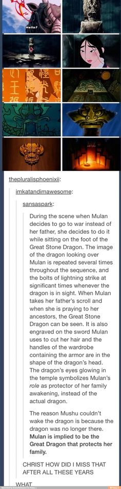 "Mulan and the Great Stone Dragon <<< Wha'd'ya mean ""and""? Mulan IS the Great Stone Dragon! Disney Facts, Disney Love, Disney Magic, Walt Disney, Disney Stuff, Humor Disney, Disney Quotes, Funny Disney, Mulan Quotes"