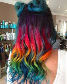 Most current Totally Free Dyed Hair rainbow Tips Are your root base providing the adventure away in which you aren't a natural crazy? Exotic Hair Color, Bold Hair Color, Pretty Hair Color, Beautiful Hair Color, Hair Dye Colors, Bright Hair, Neon Hair, Aesthetic Hair, Coloured Hair