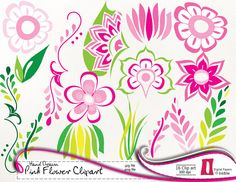 Pink Flowers Clipart,  Digital Clip art Flowers, Leaf Clipart, Hand Drawn, instant download  - 300dpi, jpg, PNG