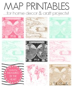 Map Printables - great for home decor and craft projects!