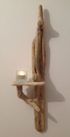 Driftwood sconce. Candle holder. Art, Crafts, Sculpture. Wall hanging