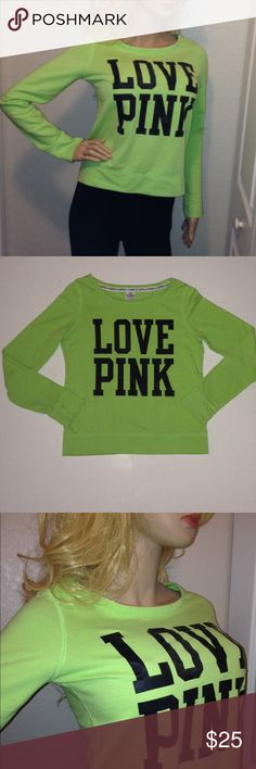 """PINK Victoria's Secret Lime Green Sweatshirt Sz S Happy to consider offers. Victoria's Secret LOVE PINK Lime Green/Black sweatshirt. Very good condition. No stain or holes. Slight fabric pilling common with material. Pet-free as well as smoke-free home. Size Small. Laying flat and without stretching, measurements are approximate and as follows: Armpit to Armpit: 19.5"""" Length: 23"""" Sleeve Length: 26"""" Happy to post additional pictures upon request. PINK Victoria's Secret Tops Sweatshirts…"""