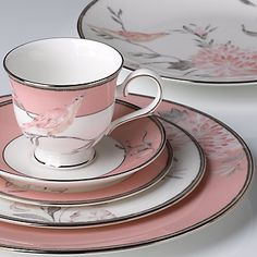 Marchesa Spring Lark 5-piece Place Setting - Add a touch of spring to your table all year round with this enchanting dinnerware. Inspired by the work of Marchesa fashion designers, this fine china pattern features soft pink bands with floral and bird artistry. I love this, so soft, beautiful and feminine!