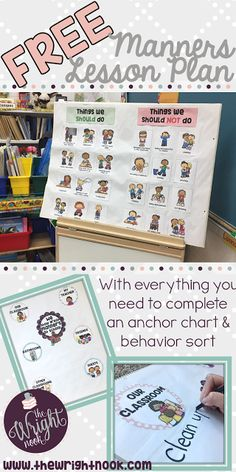 A FREE lesson plan and activity set for teaching and reinforcing manners within your classroom. Perfect for ANY time of the year when you need the extra help :) The Wright Nook: Manners - Classroom Management Monday Manners Preschool, Manners Activities, Teaching Manners, Preschool Lessons, Preschool Activities, Teaching Ideas, Teaching Resources, Classroom Behavior, Future Classroom
