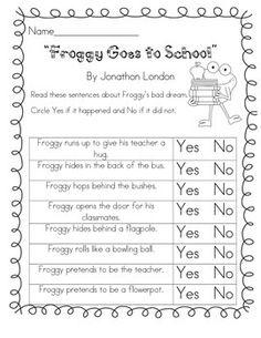 froggy goes to school activities - Yahoo Image Search Results Sensory Activities, Book Activities, Froggy Goes To School, First Day Of School, Back To School, Student Teaching, Teaching Ideas, Author Studies, Preschool Crafts