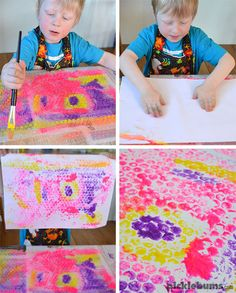 BIG Bubble Wrap Painting. - Picklebums Childcare Activities, Activities For Kids, Activity Ideas, Art For Kids, Crafts For Kids, Group Art Projects, Bubble Painting, Big Bubbles, Bubble Wrap