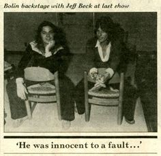 Tommy Bolin's  last picture taken,,with Jeff Beck after the  concert and hours before his death.