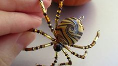 Beaded Christmas Spiders - Golden Tiger Hidden Dragon Spider - by Holly ...