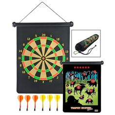 Whether you're in the backwoods or the basement, now you can hunt big game with this safe, magnetic dart set. Perfect for the home or in the office, the board's flexible surface can be unrolled and hung anywhere. Featuring a classic dart board on one side and an outdoor game on the reverse, this set is fun, educational, and safe for all ages.  Flexible, magnetized surface Dart board on one side and outdoor game on the reverse Includes board, 6 magnetic darts in two colors, mesh travel bag…