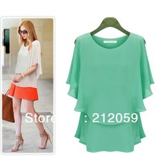 2014  summer women's casual dresses women plus size  slim loose chiffon batwing short sleeve dress  XXXL, 4XL, 5XL $19.86
