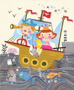 Emily  Golden  Illustration - emily, golden, emily golden, digital,colourful, colour, commercial, novelty, picture book, picturebook, people, children, boy, girl , child, person, figures, ship, boat, water, sea, ocean, fish, animals, dog, pet, seagull, bird, crown, hat, pirate, princess