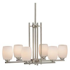 Convertible Brushed Nickel Six Light Chandelier - #06697 | Lamps Plus