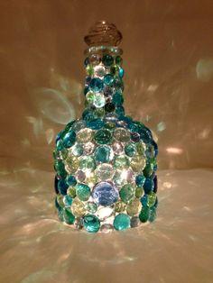 Items similar to Embellished Bottle Light on Etsy Recycled Glass Bottles, Painted Wine Bottles, Lighted Wine Bottles, Bottle Lights, Decorating Wine Bottles, Liquor Bottle Crafts, Wine Bottle Art, Diy Bottle, Wine Bottle Centerpieces