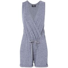 Nation Women's Cross Front Grey Romper (9,670 INR) ❤ liked on Polyvore featuring jumpsuits, rompers, grey, v neck romper, playsuit romper, nation ltd, sleeveless rompers and sleeveless romper