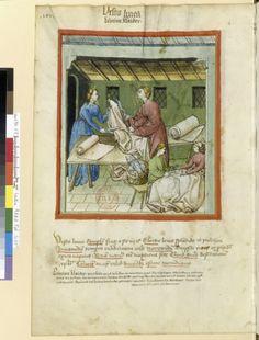 Tacuinum Sanitias 15C, Bibliothèque nationale de France, Latin 9333, fol.103v, marchand de etements de laine