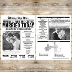 Printed Wedding Newspaper Program Customizable