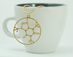 coffee- Caffeine molecule pendant - 24 Karat gold plated necklace-  caffein medalion on Etsy, $52.00