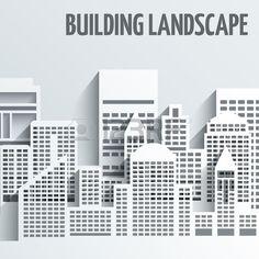 Modern city skyline building industrial paper landscape skyscraper offices vector illustration Stock Vector
