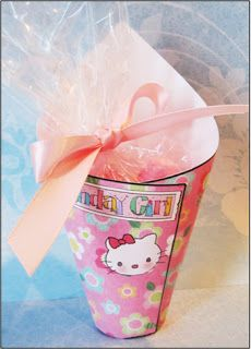 "Parties and Patterns: Homemade Party Favor ""Hello Kitty"" Candy Cone. This would be so cute filled with goldfish."