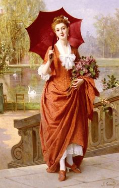 The Red Parasol by Caraud, Joseph France 1821 to 1905 ,oil painting Art Reproductions by , Hand Painted oil painting reproductions of famous artists Vintage Art, Vintage Images, Vintage Ladies, Vintage Paintings, Vintage Woman, Oil Paintings, Victorian Art, Victorian Women, Joseph