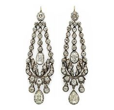 A Pair of Georgian Diamond Ear Pendants, circa 1820 Diamond Chandelier Earrings, Diamond Earing, Diamond Jewelry, Antique Jewelry, Vintage Jewelry, Fantasy Jewelry, Art Deco Jewelry, Luxury Jewelry, Vintage Earrings