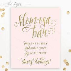 Mom-osa Bar Sign, Baby Shower Mimosa Bar Sign - Printable, Blush Pink & Gold Glitter - Champagne Bar, Bubbly Bar, 5x7, 8x10 - Ava