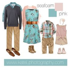 Seafoam + Pink family outfit inspiration: what to wear for a family photo session in the spring or summer. mixing color patterns and fabric textures. Family Picture Colors, Family Picture Outfits, Spring Family Pictures, Family Pics, Spring Photos, Summer Pictures, Family Portrait Outfits, Family Portraits, Family Photos What To Wear