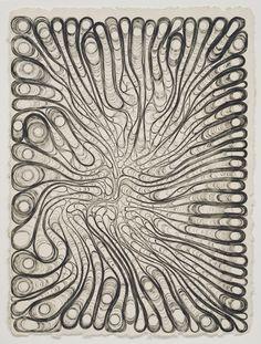 "Tara Donovan, Untitled, 2000. etching ink on Twin Rocker handmade paper, 34-1/2"" x 47"" (87.6 cm x 119.4 cm)."