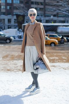 New York Fashion Week Street Style, I love everything about her, especially the flatforms!