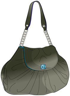 grey handbag with handle and chain elements